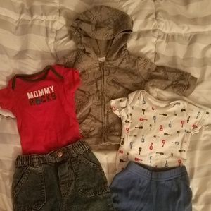 Lot of guitar themed 0-3 month clothes